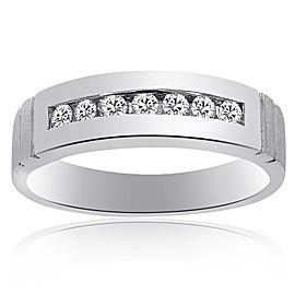 14K White Gold 0.35 Ct Round Cut Diamond Wedding Band Ring Size 10.75
