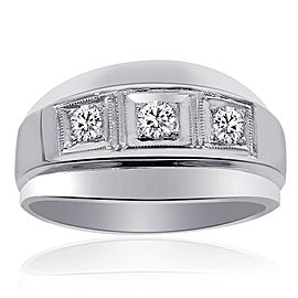 14K White Gold 0.50 Ct Round Cut Diamond Wedding Band Ring Size 9.75