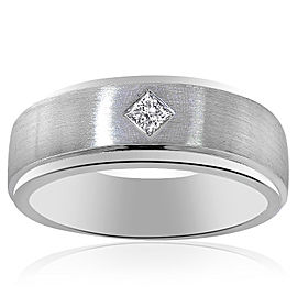 14K White Gold 0.15 Ct Princess Cut Diamond Wedding Band Ring Size 10.25