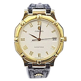 Concord Saratoga 50.14.247 18K Yellow Gold / Leather with Gold Dial 31.5mm Unisex Watch