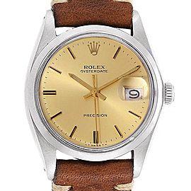 Rolex OysterDate Precision Brown Strap Steel Vintage Mens Watch 6694