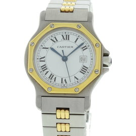 Cartier Santos 18K Yellow Gold & Stainless Steel Automatic Womens Watch