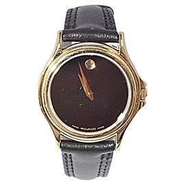 Movado Museum 87-E4-0823 Folio Black Dial Leather Gold 28mm Womens Watch