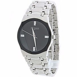 Wittnauer C8671097 Stainless Steel Diamond Sapphire Crystal Black Face 38mm Mens Watch