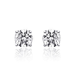 14K White Gold 0.65 Ct Round Brilliant Cut Diamond Solitaire Stud Earrings
