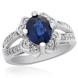 14K White Gold 1.75 Ct Blue Sapphire and 0.30 Ct Diamond Ring Size 6.5