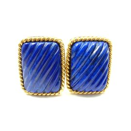 Tiffany & Co. 18K Yellow Gold Lapis Lazuli Rope Bordered Gold Cufflinks