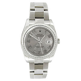 Rolex Datejust 116234 Oyster Steel Silver Concentric Arabic Gold Bezel Mens 36mm Watch