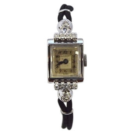 Vintage Ollendorff 14K White Gold & Nylon with Diamond 13mm Womens Watch