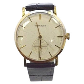 Wittnauer 14K Yellow Gold Hand-Winding with Black Leather Band 32mm Mens Watch
