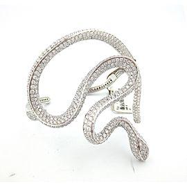 18K White Gold 14.34 Ct Diamond Snake Cluster Bracelet