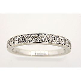 14K White Gold .60ct H SI2 Diamond Bead Set Wedding Band Ring Size 6.75