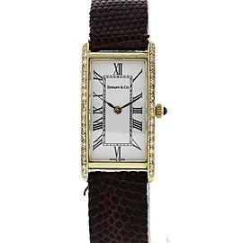 Tiffany & Co 14K Yellow Gold & Leather with Diamonds Quartz 17 mm Womens Watch