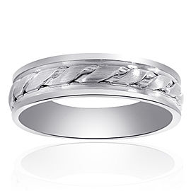 14K White Gold Band Mens Ring Size 12