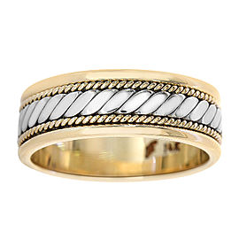 14K White and Yellow Gold Comfort Fit Wedding Band Ring Size 8.25