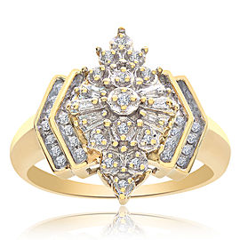 10K Yellow Gold & 0.50 ct. Diamond Marquise Cluster Ring Size 10.50