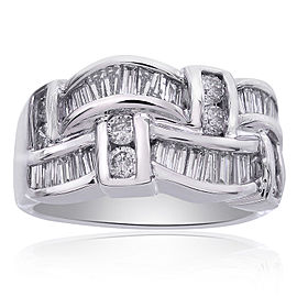 14K White Gold 1.45 Ct Baguette Round Cut Diamond Ring Size 8.75