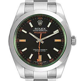 Rolex Milgauss Black Dial Green Domed Bezel Crystal Mens Watch 116400V