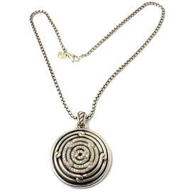 David Yurman 14K Yellow Gold & 925 Sterling Silver Labyrinth 1.39ct Diamond Necklace