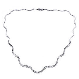 14K White Gold 2.45ct Diamond S-Wave Tennis Necklace