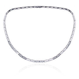 14K White Gold 0.75ct Diamond Rectangular Brick Hinge Link Necklace