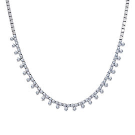 14K White Gold 2.75ct Diamond Triplet Cluster Necklace