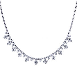 14K White Gold Rhodium Plated 4.85 Ct Diamond Cluster Necklace