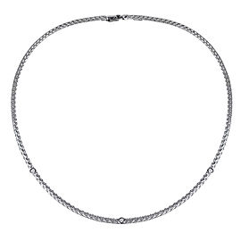 14K White Gold 0.20ct Diamond Rope Chain Necklace