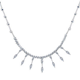 14K White Gold Rhodium Plated 2.00 Ct Diamond Fringe Necklace