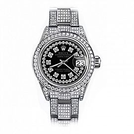 Rolex Black String SP 26mm Datejust SS Full Diamonds Oyster Band