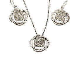David Yurman Sterling Silver 1.26 Ct Diamond Infinity Necklace and Earrings Set
