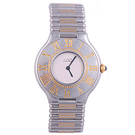 Cartier Must De 21 Stainless Steel & 18K Yellow Gold Quartz 29mm Womens Watch