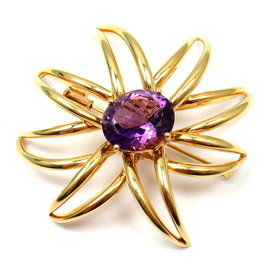 Tiffany & Co. 18K Yellow Gold Large Amethyst Fireworks Brooch Pin