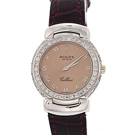 Rolex Cellini 6621 18K White Gold with Rose Dial 26mm Womens Watch