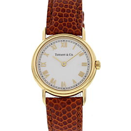 Tiffany & Co. L253 18K Yellow Gold & Brown Leather Quartz 25mm Womens Watch