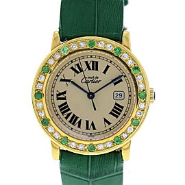 Cartier Must de Argent 1800.1 Gold Plated / Leather with Off-White Dial Vintage 33mm Womens Watch