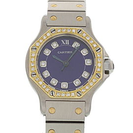 Cartier Santos Stainless Steel & 18K Yellow Gold with Blue Dial 25mm Womens Watch