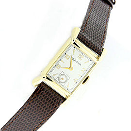 Bulova 14K Yellow Gold / Leather Vintage 20mm Unisex Watch