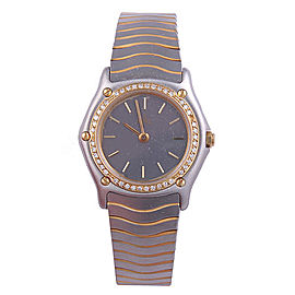 Ebel Classic Wave Stainless Steel & Yellow Gold Gray Dial 25mm Womens Watch