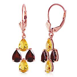 3.9 CTW 14K Solid Rose Gold Autumn Citrine Garnet Earrings