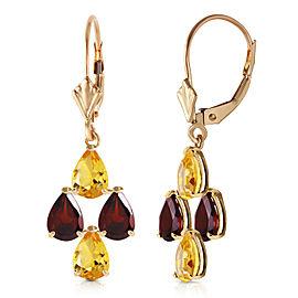 3.9 CTW 14K Solid Gold First Love Citrine Garnet Earrings