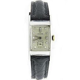 Longines 14K White Gold Diamond 20mm Mens Watch 1940