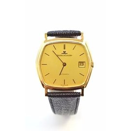 Jaeger Le Coultre 18K Yellow Gold & Leather Automatic 35.5mm Mens Watch