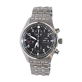 IWC Pilots Chronograph Black Dial Stainless Steel 42mm Mens Watch
