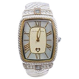 Judith Ripika Stainless Steel with Blue Mother of Pearl Dial with CZ Accent 27mm Womens Watch