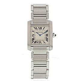 Cartier Tank Francaise 2301 Stainless Steel White Dial Quartz 25mm Womens Watch