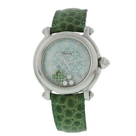Chopard Happy Sport 28/8426 Stainless Steel & Leather wDiamond & Emerald Quartz 38mm Womens Watch