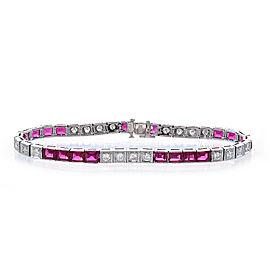 Platinum 9.50ct Ruby and 1.30ct Diamond Bracelet