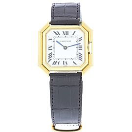 Cartier Paris 18K Yellow Gold & Leather White Dial Vintage 31mm Womens Watch