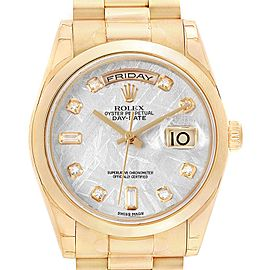 Rolex President Yellow Gold Meteorite Diamond Mens Watch 118208 Unworn